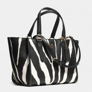 Coach Crosby Mini Carryall in Zebra Print Leather